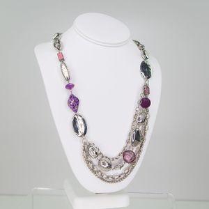 CHICO's Multi-strand Silvertone Opera Necklace